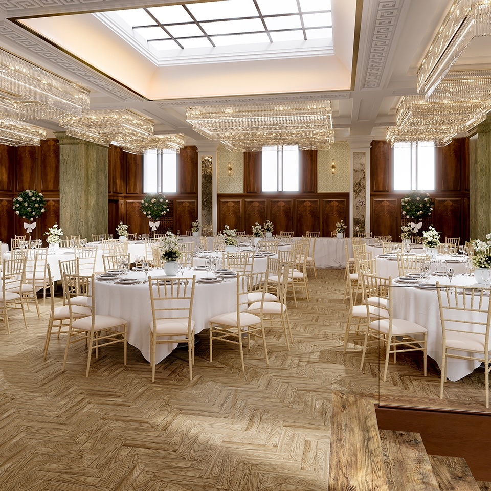 The dining room at Pelham House wedding venue in East Sussex is set up for an elegant wedding reception